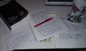 a writer scribbles